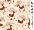Seamless pattern with cute deers - stock vector