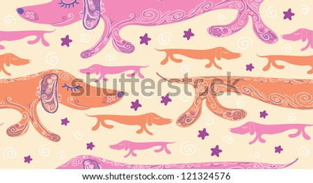 Seamless pattern with cute dog. Vector illustration - stock vector