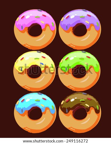 Seamless pattern with cute donuts, donuts set - stock vector