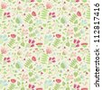Seamless pattern with cute doodle flowers #1 - stock vector