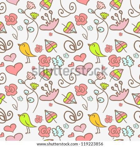 Seamless pattern with cute floral elements - stock vector