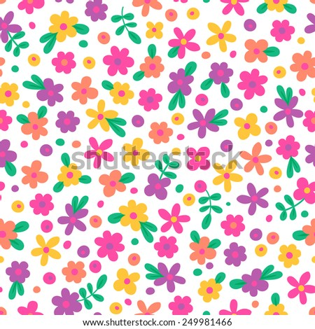 Seamless pattern with cute flowers. Vector illustration. - stock vector