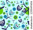 Seamless pattern with cute funny owls - stock vector