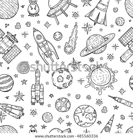 Seamless pattern with cute hand drawn space objects: stars, rockets, planets, moon, sun etc. Hand-drawn vector collection