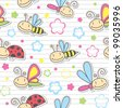 seamless pattern with cute insects and flowers - stock vector