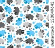 Seamless pattern with cute lambs - stock vector