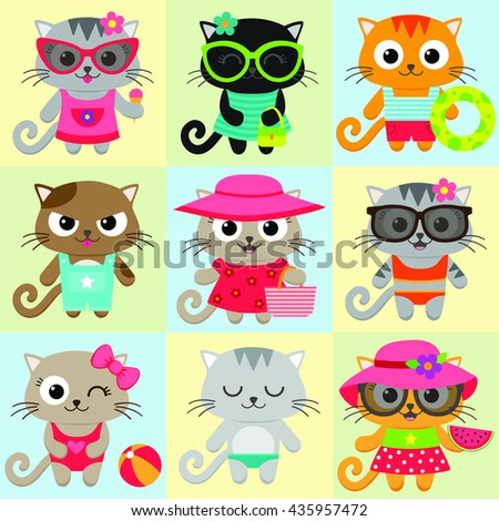 Seamless pattern with cute little cat girls and boys - stock vector