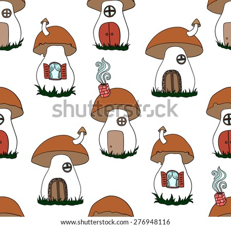 Seamless pattern with cute mushrooms. Mushrooms as a house - stock vector