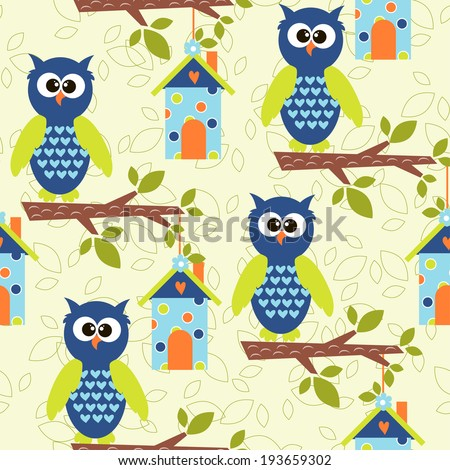 seamless pattern with cute owls and colorful houses for birds. vector illustration - stock vector