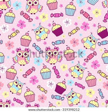Seamless pattern with cute owls, cakes and chocolates on a pink background