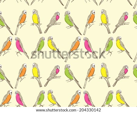 Seamless pattern with cute parrots on yellow background  - stock vector