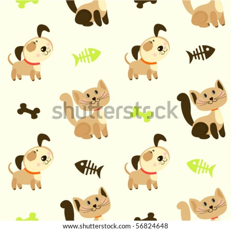 Seamless pattern with cute pets - stock vector