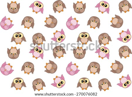 Seamless pattern with cute pink and brown owls on white - stock vector
