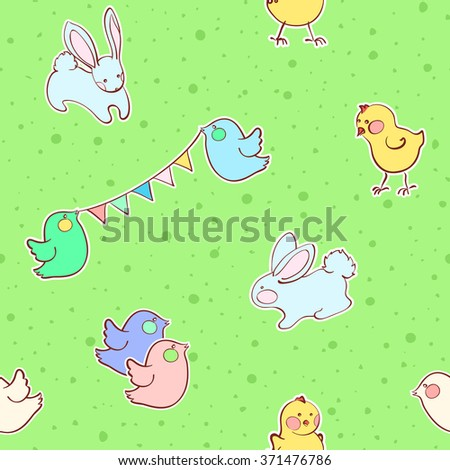 Seamless pattern with cute rabbit, birds and chicken. Gentle children concept. Vector illustration