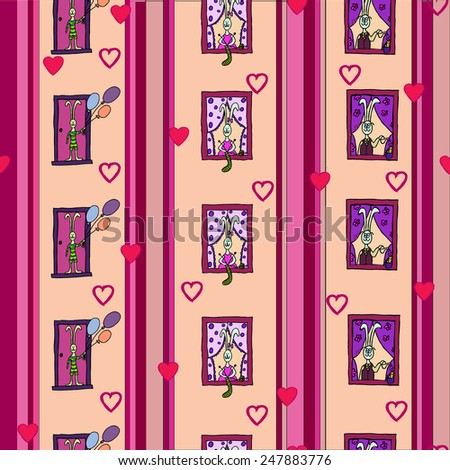 Seamless pattern with cute rabbits - Vector Illustration - stock vector