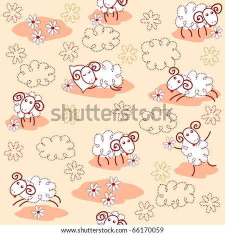 Seamless pattern with cute sheep - stock vector