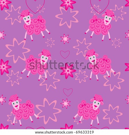 Seamless pattern with cute sheep on violet background - stock vector