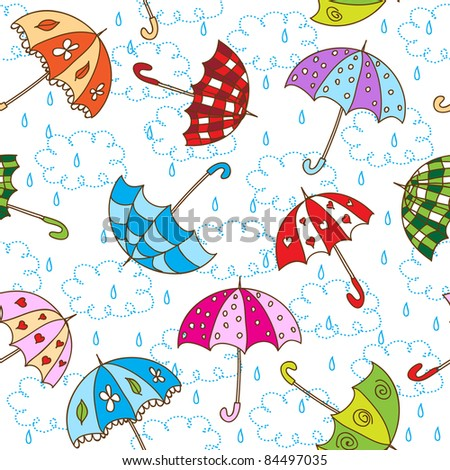 Seamless pattern with cute umbrellas - stock vector
