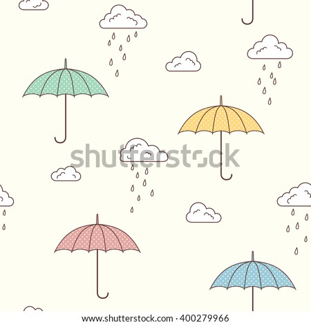 Seamless pattern with cute umbrellas, clouds and rain drops - stock vector