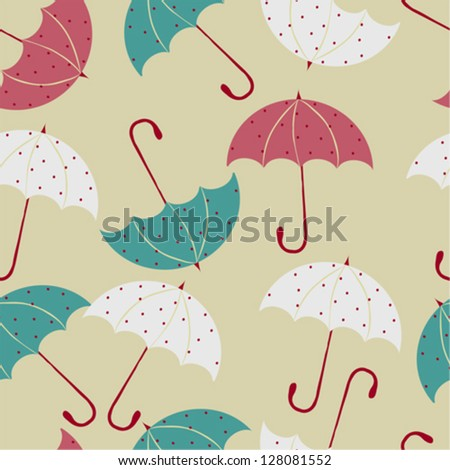 Seamless pattern with cute umbrellas. Vector illustration. - stock vector