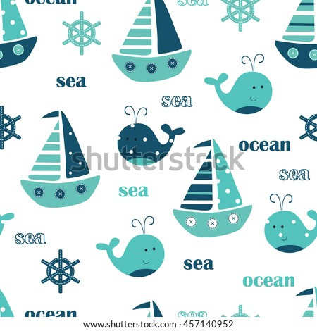 Seamless pattern with cute whales, sailing ships and lettering
