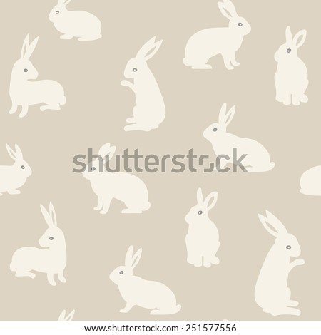 Seamless pattern with cute white rabbits. Vector illustration.  - stock vector