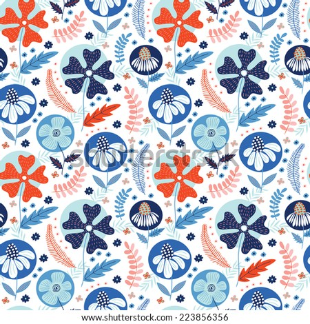 Seamless pattern with cute winter flowers. Used for wallpaper, pattern fills, web page background,surface textures. - stock vector