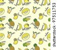 Seamless pattern with cute yellow fruits and vegetables - stock vector