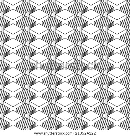 Seamless pattern with 3-D effect cubes in perspective. Variant 04 Black line on white background. This vector illustration clip-art web design elements save in 8 eps - stock vector
