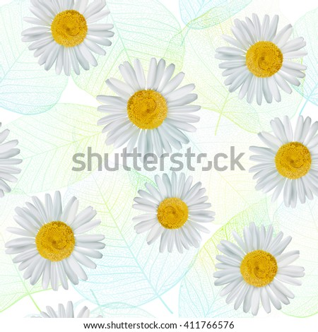 Seamless pattern with daisy, chamomile flowers. Vector illustration. EPS10.