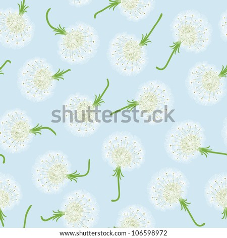 Seamless pattern with dandelions and seeds flying - stock vector