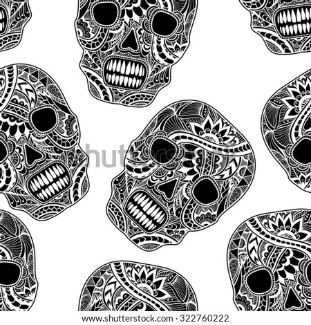 Seamless pattern with Decorate Skull painted ornament black on white for decorated clothes or party of Halloween or different things - stock vector