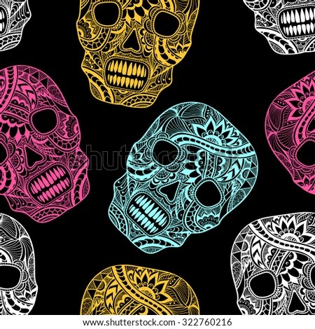 Seamless pattern with Decorate Skull painted ornament full colors on black   for decorated clothes or party of Halloween or different things - stock vector