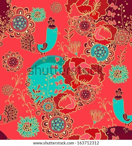 Seamless pattern with decorative birds - stock vector