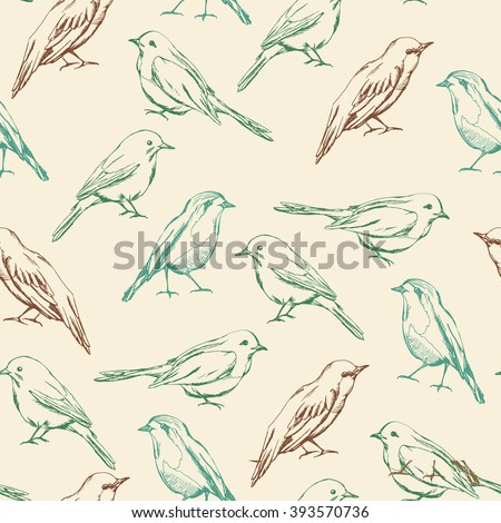 Seamless pattern with decorative birds. Birds vector seamless pattern. Color birds. - stock vector
