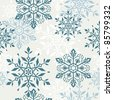 Seamless pattern with decorative christmas snowflakes - stock vector