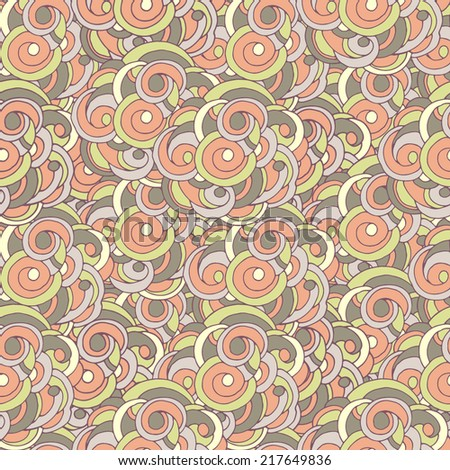 Seamless pattern with decorative elements. Seamless abstract pattern with orange, green, yellow and gray swirls.