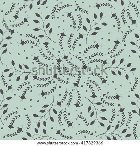 Seamless pattern with decorative floral silhouettes. Template can be used for design fabric, linen, tile, wallpaper, paper and more creative designs. Vector image. - stock vector