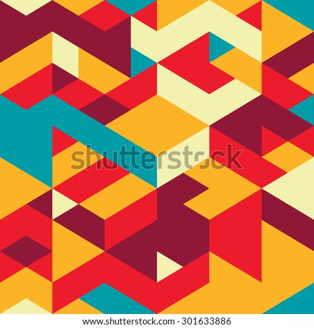 Seamless pattern with decorative geometric and abstract elements. Vector illustration. - stock vector