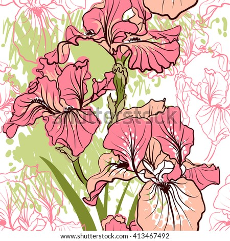 Seamless pattern with decorative   iris flower in retro colors. Vector background. - stock vector