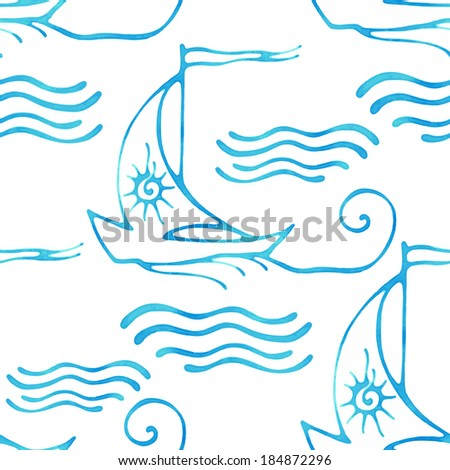 Seamless pattern with decorative sailing ships on waves. Vector illustration