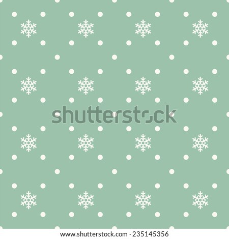 Seamless pattern with decorative snow flakes and dots - stock vector