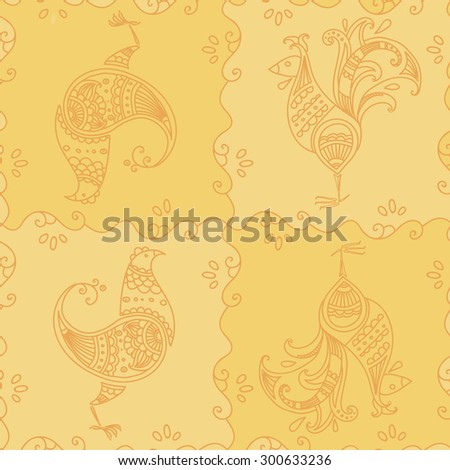 Seamless pattern with decorative stylized birds. Proud cock, clocking hen, yellow background - stock vector