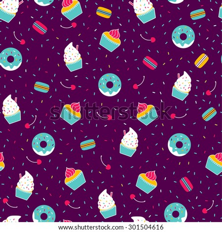 Seamless pattern with desserts - stock vector