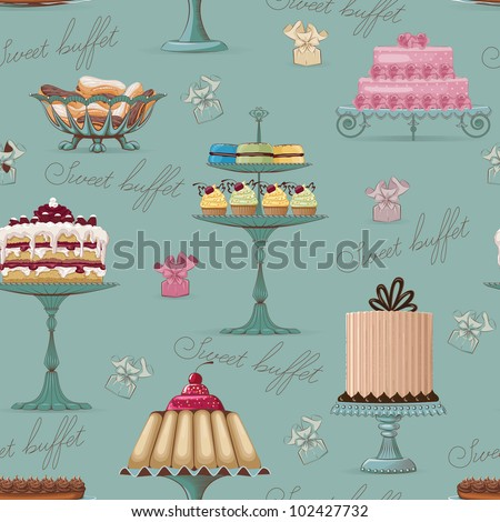 Seamless pattern with different cakes - stock vector