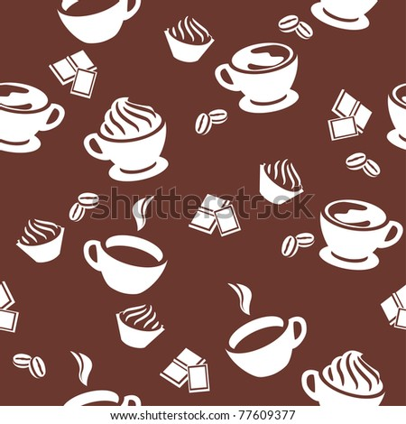 Seamless pattern with different cups of coffee - stock vector
