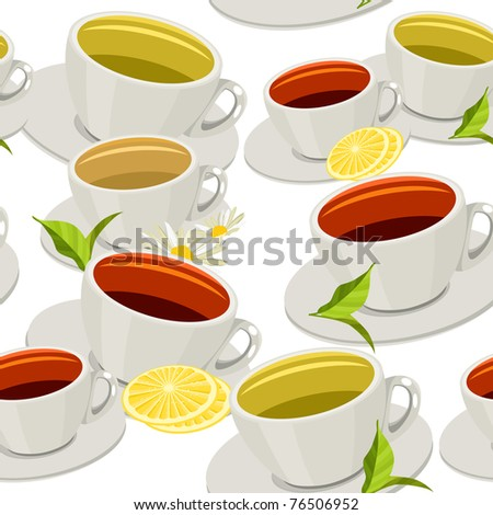 Seamless pattern with different cups of tea - stock vector