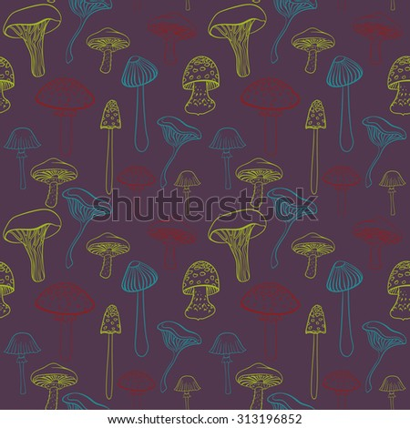 Seamless pattern with different hand drawn mushrooms on dark purple background