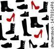 Seamless pattern with different kind of shoes. Boots, heels, shearling boots, riding boots and more. - stock photo