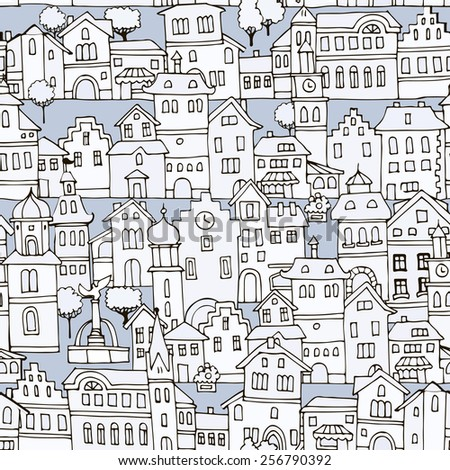 Seamless pattern with different  shape old houses.Sketch, hand drawn. Facades of variegated buildings in the traditional Dutch style.Illustration of the black and white - stock vector